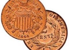 В США была начата чеканка бронзовых монет достоинством в 1 и 2 цента