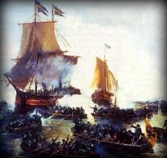Победа русских кораблей над шведскими парусными кораблями в устье Невы
