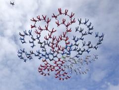 Поставлен рекорд в купольной акробатике — 357 парашютистов образовали гигантский цветок в небе Таиланда