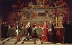 Галилео Галилей преподнес герцогу Тосканскому Фердинандо II Медичи посвященную ему книгу «Диалог о двух главнейших системах мира — птолемеевой и коперниковой»